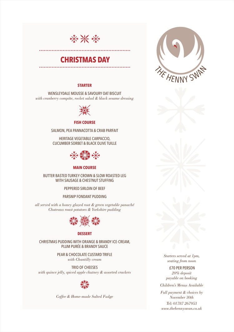Christmas Menus for The Henny Swan