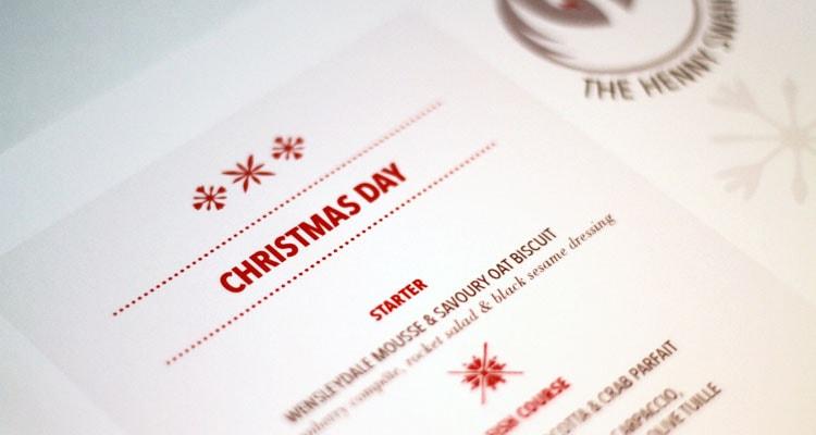 Christmas Menus for The Henny Swan