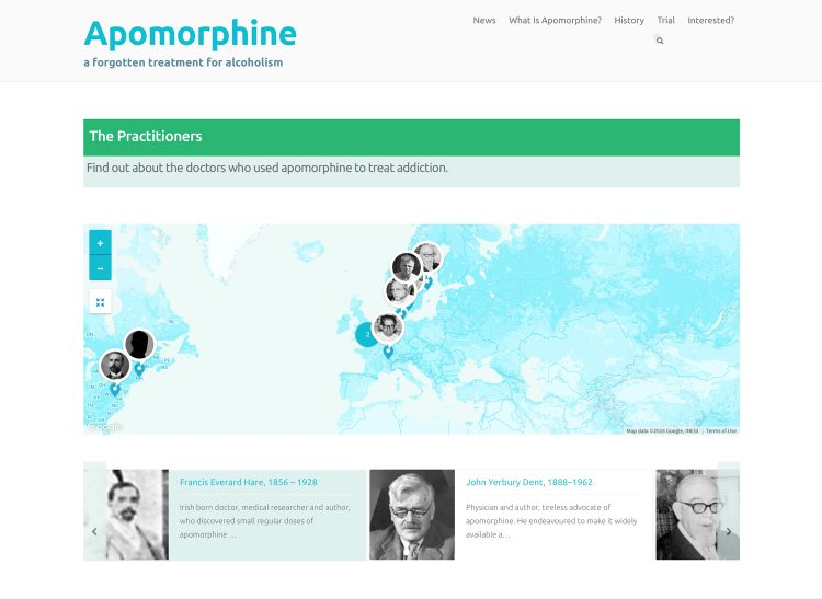 Apomorphine.info practitioners map
